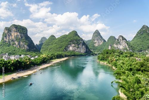 Wall Murals Guilin The Li River (Lijiang River) among scenic karst mountains, China