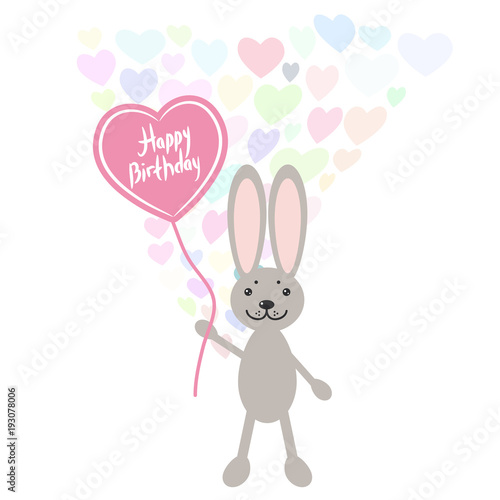 Photo  Happy birthday Card cute kawaii Hare rabbit with balloon in the shape of heart, pastel colors on white background