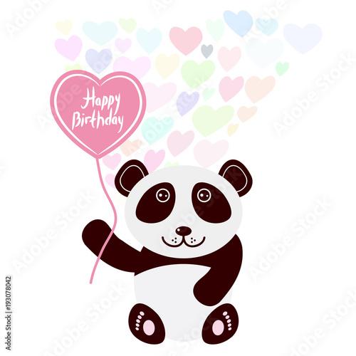 Happy Birthday Card Design Cute Kawaii Panda With Balloon In The