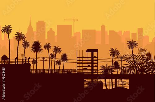 Staande foto Los Angeles City skyline silhouette at sunset.
