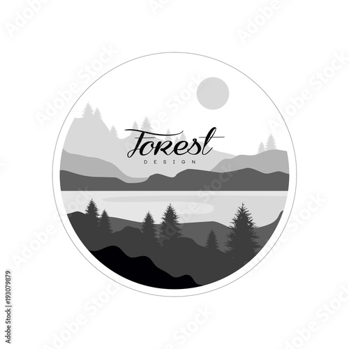 Photo Stands Fantasy Landscape Forest logo design, beautiful nature landscape with silhouettes of trees, mountains and river, natural scene icon in geometric round shaped design, vector illustration in black and white colors