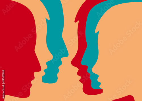 Abstract people and crowd. Concept of dialogue between people, meeting and party