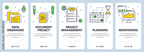 Fotografía  Vector modern thin line project management concept web banner set