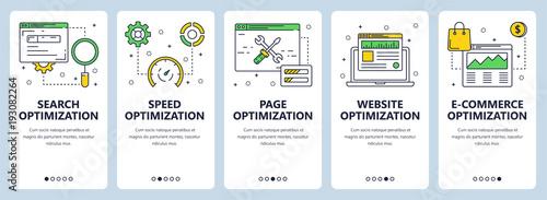 Photo  Vector modern thin line search optimization concept web banner set
