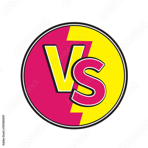 Versus Letters Round Circle Icon Or VS Battle Fight Competition Sign