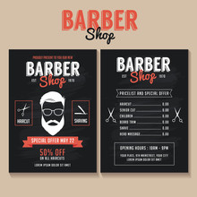 Barber Shop Flyer Template. Price List And Special Offer
