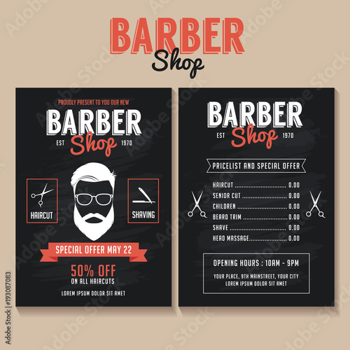 Barber Flyer Template Price List And Special Offer