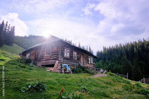 Fotobehang Purper Summer in the Carpathian Mountains. Beautiful landscape with green volley and wooden house.