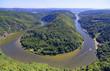 Saarschleife der Saar bei Orscholz mit Blick auf gesamte Saarbiegung in Saar-Lor-Lux Saarland Deutschland Europa