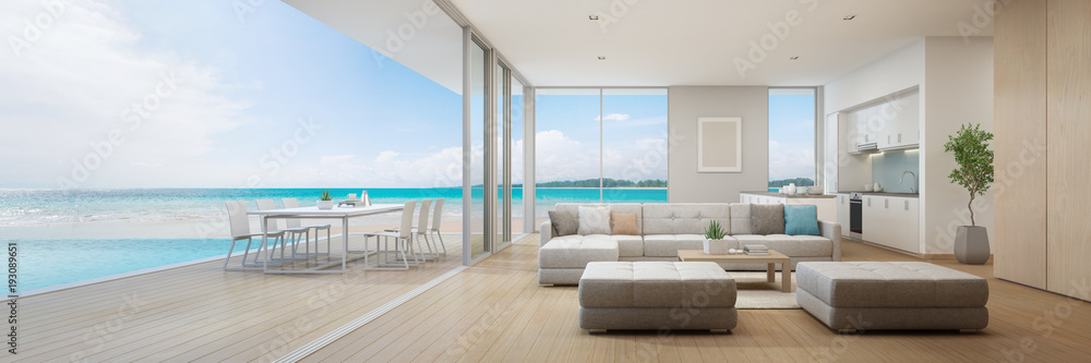 Fototapety, obrazy: Sea view kitchen, dining and living room of luxury beach house with terrace near swimming pool in modern design. Vacation home or holiday villa for big family. Interior 3d illustration