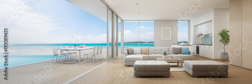 Obraz Sea view kitchen, dining and living room of luxury beach house with terrace near swimming pool in modern design. Vacation home or holiday villa for big family. Interior 3d illustration - fototapety do salonu