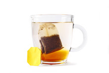 Packaged Tea In A Glass Cup