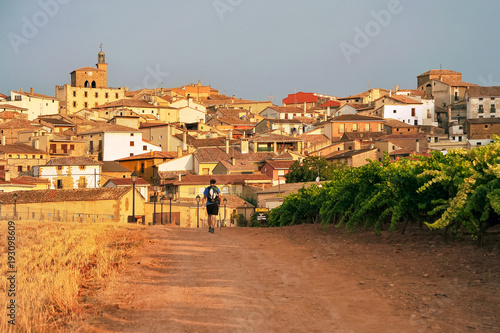 Pilgrim in the Way of St. James, Camino de Santiago to Compostela, arrival at Cirauqui in Navarre, Spain
