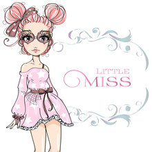 Pink Hair Cute Fashion Teen Girl Wearing Pink Dress, Little Miss Fashion Girl With Floral Frame, Cartoon Character Comics Girl Portrait, Young Woman Vector Illustration