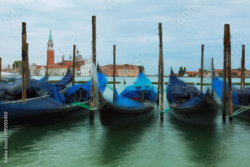 Türaufkleber Gondeln Gondolas in Grand Canal on sinrise, Venice, Italy