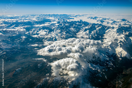 Foto op Plexiglas Luchtfoto Alps aerial view from airplane