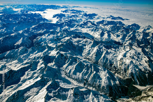 Poster Luchtfoto Alps aerial view from airplane