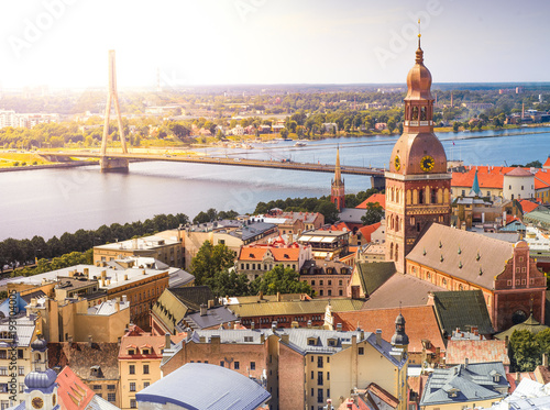 Fotografie, Obraz Panorama view from Riga cathedral on old town of Riga, Latvia