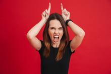 Portrait Of Crazy Woman 20s We...