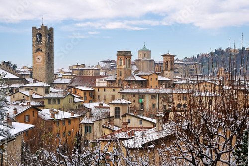 Towers and Steeples of the upper city of Bergamo after a snowfall, Lombary, Italy