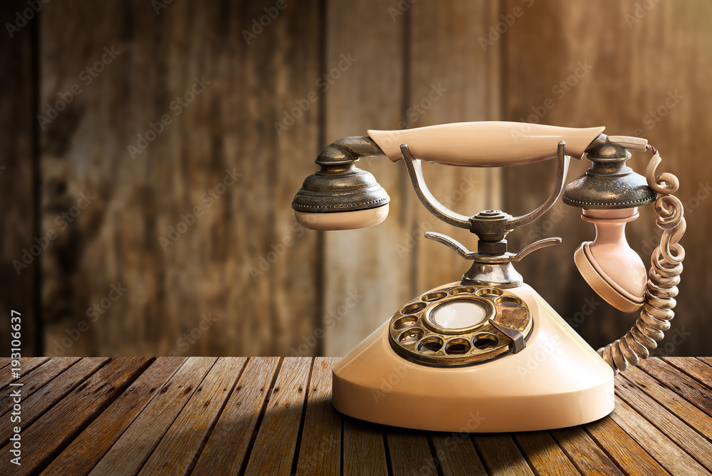 Fototapety, obrazy: Vintage telephone on table