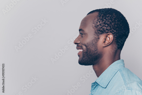 Profile, side view portrait with copy space, empty place for product of virile, Canvas-taulu
