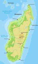 Madagaskar Karte - Höhenschic...