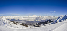 Panoramic View Of European Alps During Winter, Captured At Aosta In Italy Facing North Towards Switzerland, And West Towards France