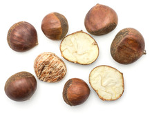 European Chestnuts Spanish Edible Whole Halved And Peel Isolated On White Background Raw Fresh Brown Nuts Top View.