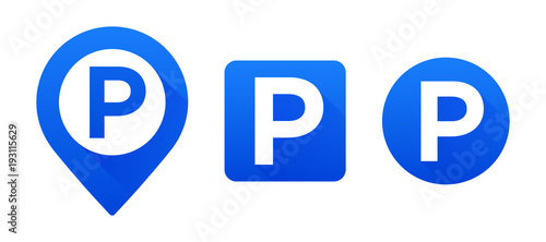 Fototapeta Vector set parking signs. Map parking pointer. Vector set parking icons. Parking place sign obraz