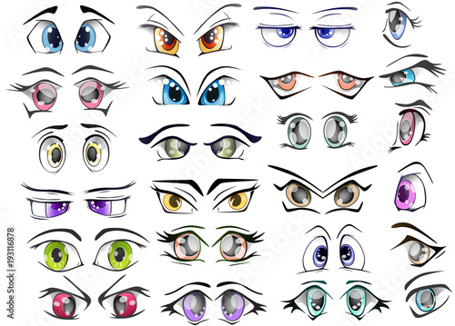 Deurstickers Babykamer The Complete Set of the Drawn Eyes for you Design