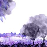 Watercolor banner, logo, postcard. purple  silhouette of a tree, maple, oak, birch, poplar, linden. Watercolor landscape, black, purple   splash of paint, abstract spots, beautiful drawing. - 193117239