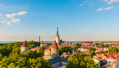Panorama Panoramic Scenic View Landscape Old City Town Tallinn In Estonia