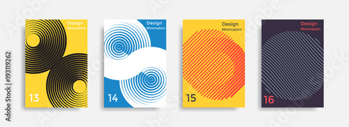 Covers templates collection with graphic geometric shapes Canvas Print