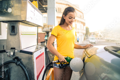 Fotografie, Obraz  At the gas station