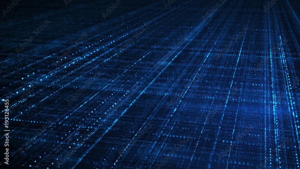 Fototapety, obrazy: Blue sci-fi grid information technology concept