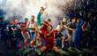 canvas print picture - players of different sports on the football stadium 3D rendering