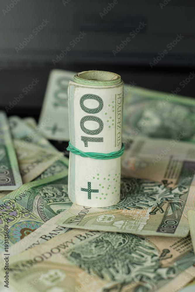 Fototapeta pieniądze w rulonie