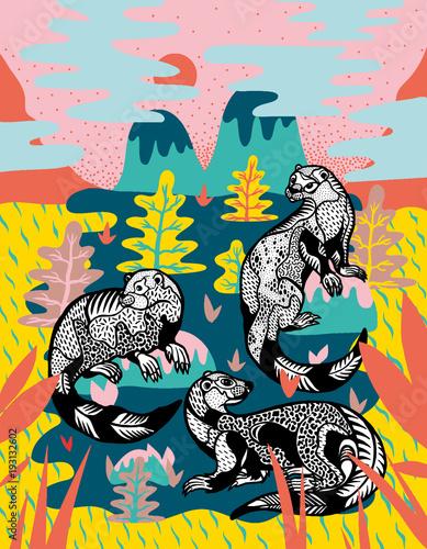 Foto op Aluminium Graffiti Otters in colourful nature