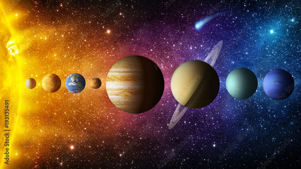 Fototapety, obrazy: Solar system planet, comet, sun and star. Elements of this image furnished by NASA. Sun, mercury, Venus, planet earth, Mars, Jupiter, Saturn, Uranus, Neptune.  Science and education background.