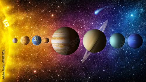 Fototapeta Solar system planet, comet, sun and star. Elements of this image furnished by NASA. Sun, mercury, Venus, planet earth, Mars, Jupiter, Saturn, Uranus, Neptune. Science and education background. obraz