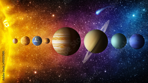 Obraz Solar system planet, comet, sun and star. Elements of this image furnished by NASA. Sun, mercury, Venus, planet earth, Mars, Jupiter, Saturn, Uranus, Neptune.  Science and education background. - fototapety do salonu
