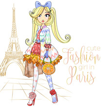 Cute Fashion Girl With Orange Bag Near Eiffel Tower In Paris, Anime Cartoon Character Comics Girl Portrait, Young Fashion Woman Vector Illustration