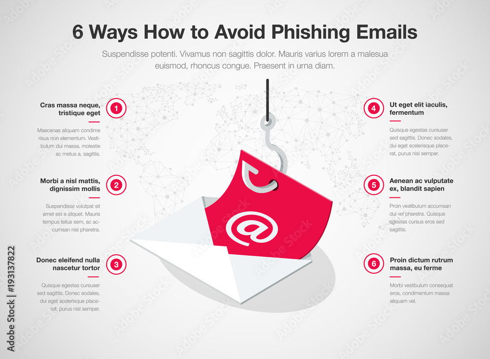 Fotografía  Simple Vector infographic for 6 ways how to avoid phishing emails template isolated on light background