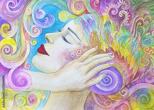 meditazione bella ragazza dipinto acquerello