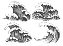Sea Waves Sketch. Ocean Wave S...