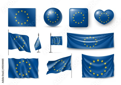 Obraz Set European Union flags, banners, banners, symbols, realistic icon. Vector illustration of collection of national symbols on various objects and state signs - fototapety do salonu