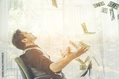 Fototapeta Business man, rich, millionaire, billionaire, with many banknote dollars money obraz