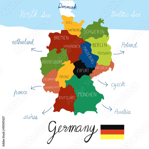 Germany map hand draw vector. illustration EPS10. Wallpaper Mural