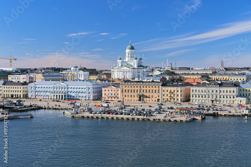 Fototapeta Helsinki cityscape with Helsinki Cathedral, South Harbor and Market Square (Kaup